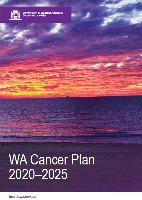 Font cover of the WA Cancer Plan 2020-2025 sun setting over the ocean