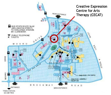 Map of CECAT on Graylands Hospital campus
