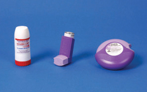 Purple, red and white combination inhalers