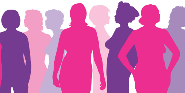 Silhouettes of 8 women standing together