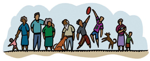 Illustration of Aboriginal people playing football