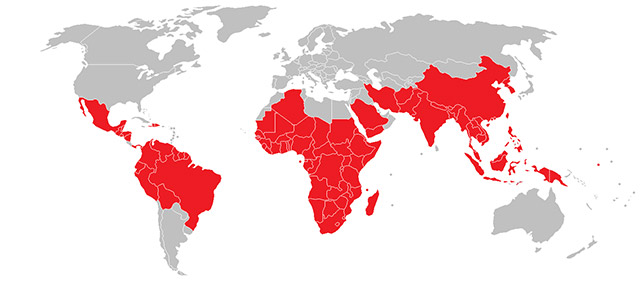 Map of the world with regions highlighted in red indicating high risk malaria locations