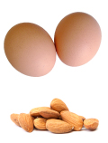 two chicken eggs and handful of almonds
