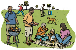 Drawing of an Aboriginal family having a barbeque picnic and playing in the park