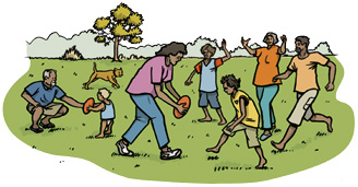Drawing of an Aboriginal family playing football in a park