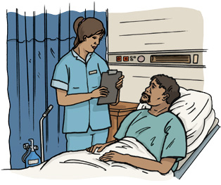 Drawing of nurse attending to an Aboriginal patient in hospital