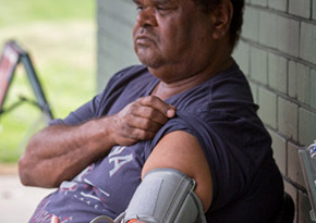 Aboriginal man getting his blood pressure checked