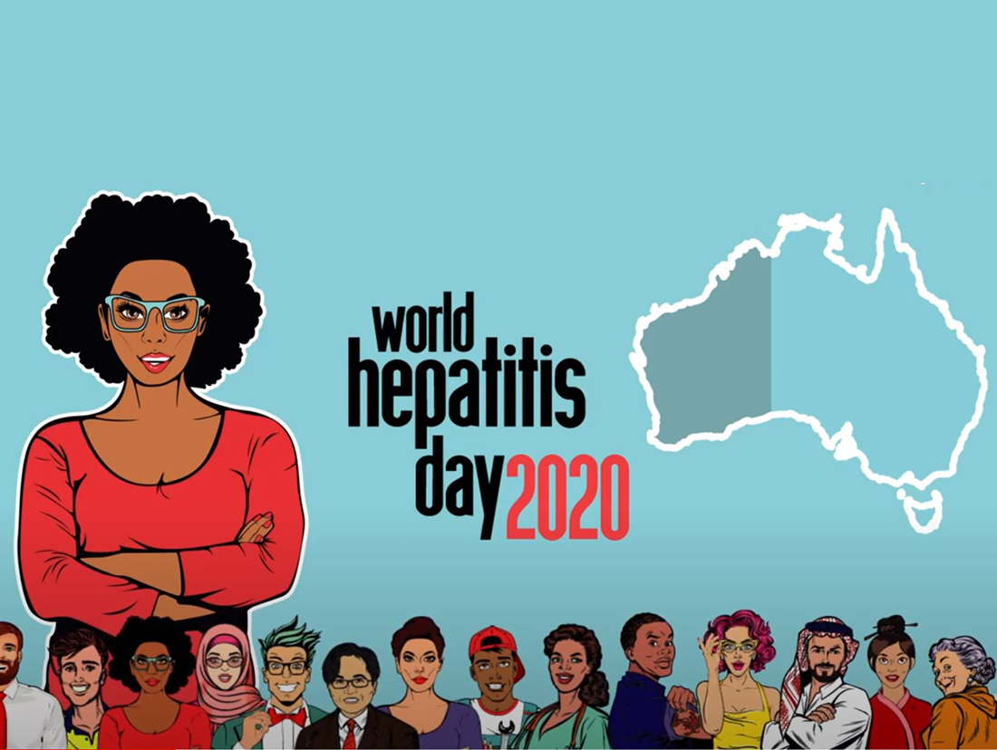 World Hepatitis Day 2020 with a variety of  cartoon faces on a blue background
