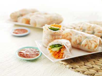 Prawn and avocado rice paper rolls