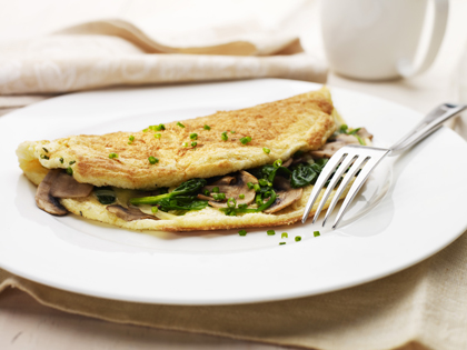 fluffy spinanch and mushroom omelette