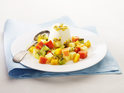 Honey pannacotta with tropical fruit salsa