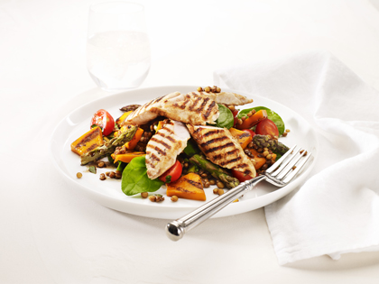 Grilled pumpkin, asparagus and chicken salad