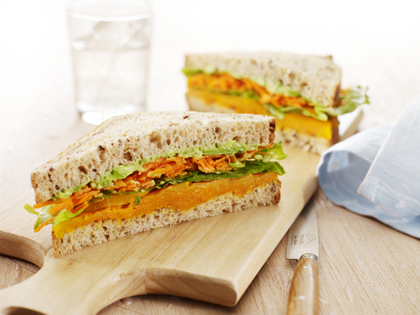 Roasted pumpkin and salad sandwich