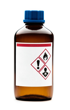 A small bottle featuring  a label with 3 symbols – warning exclamation mark, no don't swallow and fire hazard