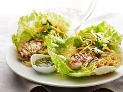 Grilled chicken and noodle lettuce wraps