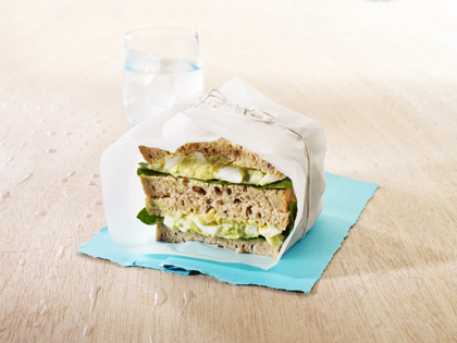 Avocado, egg and spinach sandwich