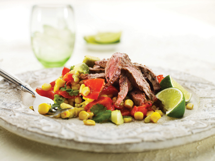 Chargrilled beef with avocado and corn salsa