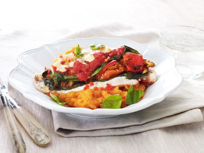 Backed chicken parma sweet potato mash