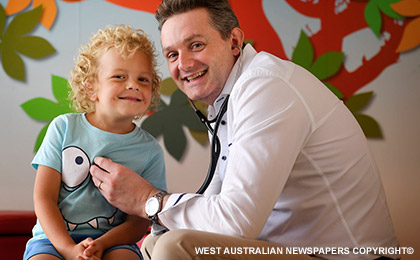 Dr Nick Gottardo with PMH child