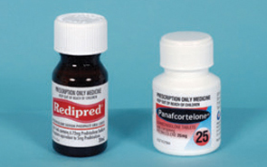 Steroid medications in bottles