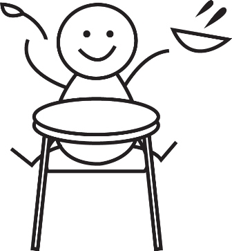 Stick drawing of a baby sitting in a high chair and throwing food