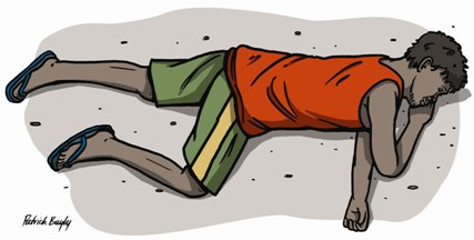 Illustration of Aboriginal laying on left side