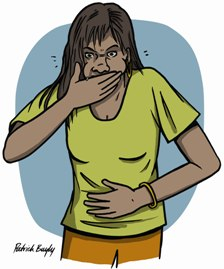 Illustration of Aboriginal man feeling sick