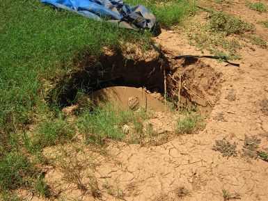 a collapsed septic tank