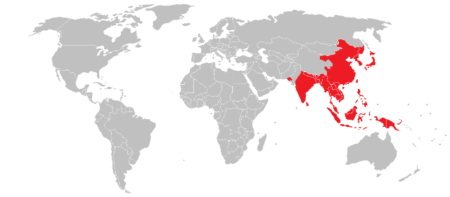 Prevent mosquito borne disease on holiday overseas world map highlighting in red asian countries such as china japan and korea as high gumiabroncs Images