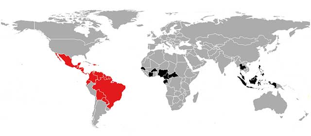 World map highlighting in black the regions of ongoing Zika virus activity and in red the current high risk Zika virus activity regions