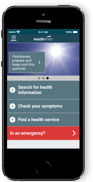Healthdirect app on mobile phone