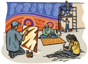 Drawing of Aboriginal artists painting a mural and creating art