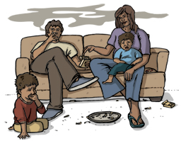 Drawing of Aboriginal man smoking on the couch in front of his wife and children, who are coughing
