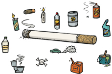 Drawing of a burning cigarette surrounded by bottles, jars and other containers of chemicals