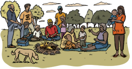 Drawing of a group of Aboriginal people socialising outdoors