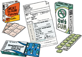 Drawing of a selection of nicotine patches, lozenges, gums and quit smoking medications
