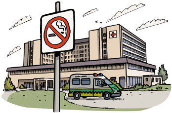 Drawing of a no smoking sign in front of a hospital