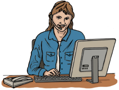 Drawing of woman working at a computer and talking on the telephone