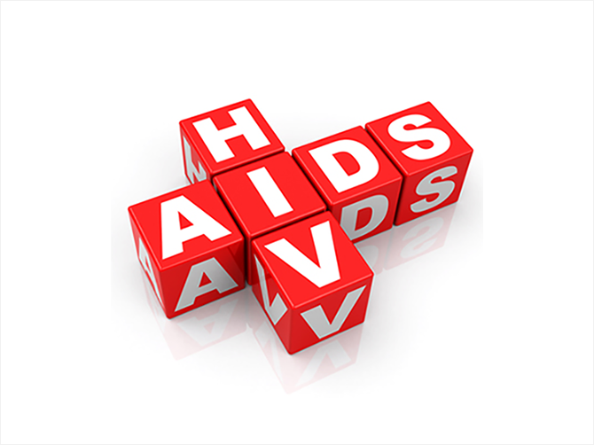Word-blocks spelling out HIV and aids
