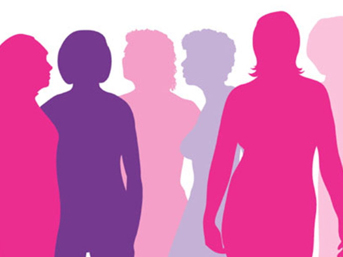 Silhouette's of a group of women