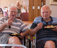 Two elderly men sitting in chairs eating meals off plates